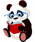Cute Panda with glasses reading  a book.