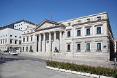 Spanish Congress of Deputies building at sunny day in Madrid, Spain.