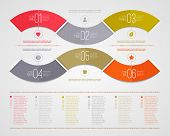 Infographics design template - abstract nambered color paper waves shape