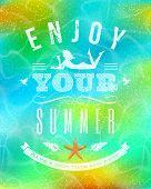 Summer holidays greeting emblem on a tropical sea bottom background - vector illustration