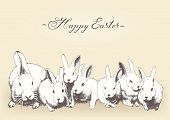 Vector hand drawn family of rabbits, Happy Easter design, A4