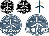 Wind Power Electricity Icons and Stamps