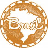 Vintage Style Brazil South America Vector Stamp