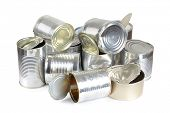 stock photo of reprocess  - Color photo of metal cans in a landfill - JPG