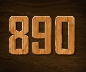 Digits made of wood. Vector illustration.