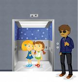 image of pedophilia  - Illustration of the young girls inside the elevator and a scary man outside - JPG