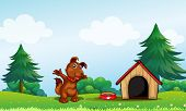 Illustration of a playful brown puppy