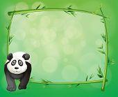 Постер, плакат: Иллюстрация большая панда рядом с бамбуковых кадр