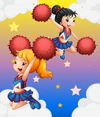 Illustration of the cheerdancers with red pompoms