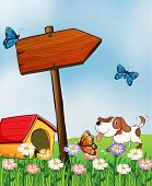 Illustration of a dog with a doghouse beside an arrowboard
