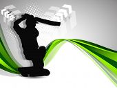 Cricket batsman in playing action on wave background.