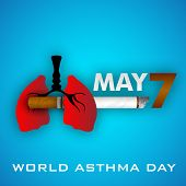 World asthma day background with cigarette, lungs and text 7th May. Illustration of no smoking background.
