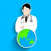 Abstract World health day concept with illustration of doctor and world globe.