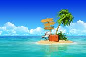 Desert tropical island with palm tree, chaise lounge, suitcase and three empty wooden signpost. Conc