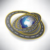 3d Globe and roads around it. Vector illustration