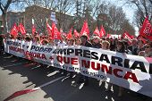 MADRID - MARCH 11: Demonstration of Communist Party of Spain near Prado on March 11, 2012 in Madrid, Spain. Spaniards came out on March 11 on streets 60 cities to protest against labor law reform.
