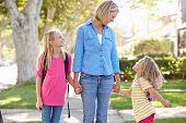 Mother And Daughters Walking To School On Suburban Street