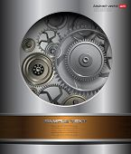 Technology background, 3D metallic vector gears.