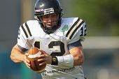 VIENNA, AUSTRIA - APRIL 29 QB Justin Walz (#12 Panthers) runs with the ball on April 29, 2012 in Vie