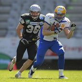 INNSBRUCK, AUSTRIA - APRIL 28: WR Klaus Geier (#86 Giants) runs with the ball on April 28, 2012 in I