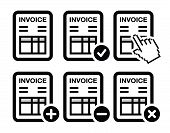 Invoice, finance vector icons set