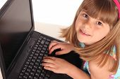Close Up Of Girl On Computer Laptop