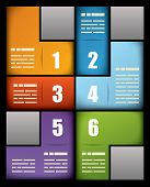 Colorful business print presentation template with six numbered text boxes in different colors arran