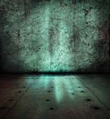 Stone wall and floor,with mysterious green glowing light