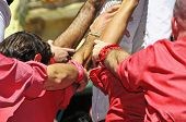 TARRAGONA, SPAIN - SEPTEMBER 16: Castells on September 16, 2012 in Tarragona, Spain. Every year, dur