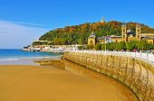 SAN SEBASTIAN, SPAIN - NOVEMBER 15: La Concha Beach on November 15, 2012 in San Sebastian, Spain. With an average length of 1,350 meters, it is one of the most famous urban beaches across the country