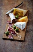 Spanish Salami, Brie and Hard Cheese on a Wooden Board