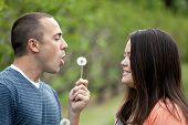 picture of fiance  - Young happy couple enjoying each others company outdoors - JPG