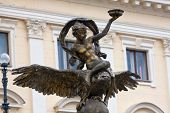 Ganymede sculpture on National Theatre Bratislava background