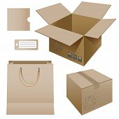 Illustration of paper packaging, set. Vector.