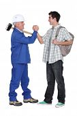 Tradesman making a pact