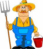 stock photo of hillbilly  - merry mustachioed farmer with a pitchfork and bucket - JPG