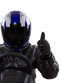 stock photo of armored car  - racer wearing striped leather jacket and blue helmet - JPG