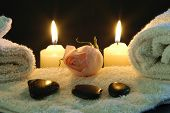 picture of candle flame  - romantic spa  night at home - JPG