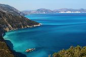 Shores Of Island Kefalonia In The Ionian Sea, Greece