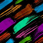 Colorful dark grunge brush strokes seamless pattern