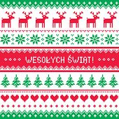image of knitwear  - Winter red and green background for celebrating xmas in Polish  - JPG