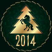 Background With Horse Silhouette And Christmas Tree