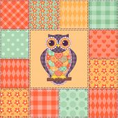 Seamless patchwork owl pattern 4