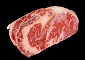 image of wagyu  - Premium quality kobe beef ribeye steak isolated on black background - JPG