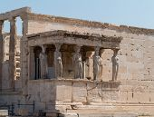 Detail Of Caryatids Statues In Athens Greece