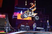 MOSCOW - MAR 02: Freestyle a quad bike on the festival extreme sports Breakthrough 2013, on March 02