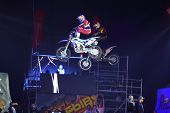 MOSCOW - MAR 02: Doubles jump motorcyclists on the festival extreme sports Breakthrough 2013 in the