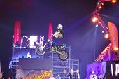 MOSCOW - MAR 02: Jump rider with acrobatic elements on the festival extreme sports Breakthrough 2013