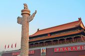 BEIJING, CHINA - APR 6: Tiananmen sunrise on April 6, 2013 in Beijing, China. Tiananmen is a famous