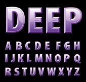 vector alphabet in shiny violet deep purple color